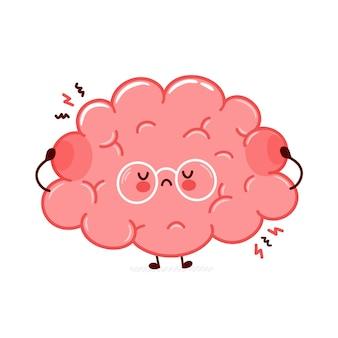 Personnage mignon drôle d'organe du cerveau humain triste