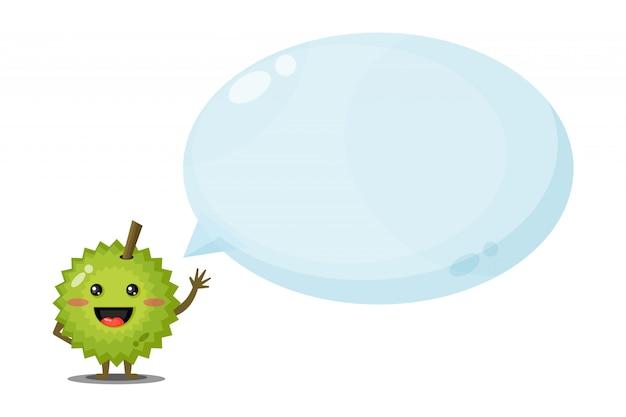 Personnage mignon durian avec discours de bulle