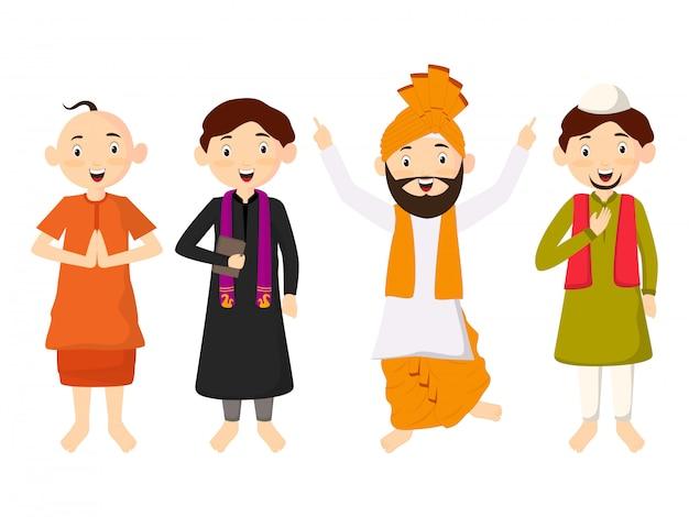 Personnage mignon enfants en costume traditionnel, appartient à diff