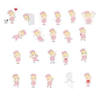 Personnage mignon de fille dessin animé de nombreuses émotions et actions