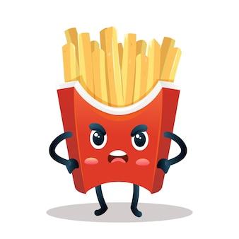 Personnage mignon de frites avec une pose en colère