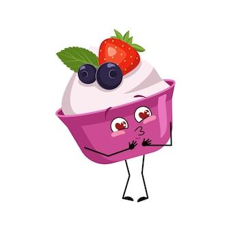 Un personnage mignon de gâteau ou de yaourt tombe amoureux des yeux, les coeurs embrassent les bras du visage