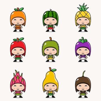 Personnage mignon en illustration vectorielle de fruits costumes dessin animé