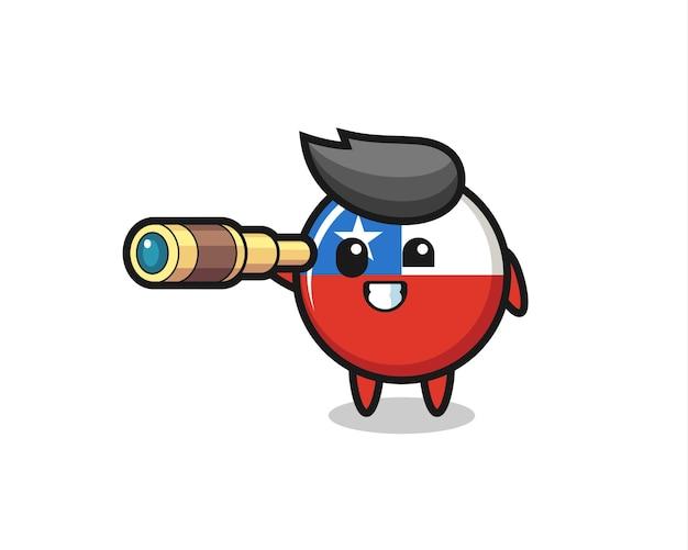 Le personnage mignon d'insigne de drapeau du chili tient un vieux télescope, un design de style mignon pour un t-shirt, un autocollant, un élément de logo