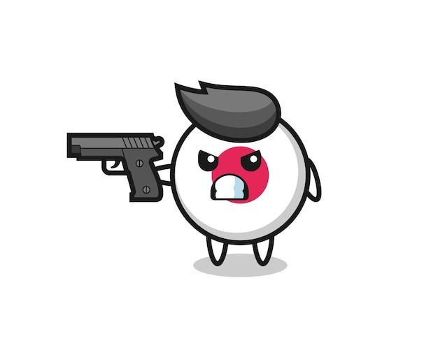 Le personnage mignon d'insigne de drapeau du japon tire avec une arme à feu, un design de style mignon pour un t-shirt, un autocollant, un élément de logo