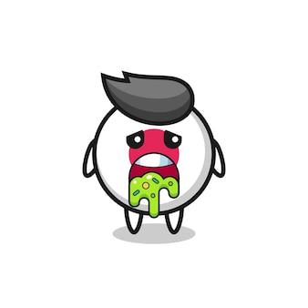 Le personnage mignon d'insigne de drapeau du japon avec vomi, design de style mignon pour t-shirt, autocollant, élément de logo
