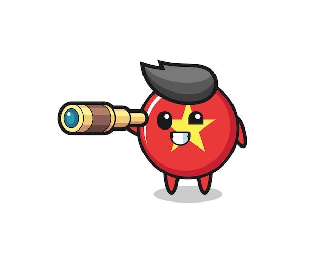 Le personnage mignon d'insigne de drapeau du vietnam tient un vieux télescope, un design de style mignon pour un t-shirt, un autocollant, un élément de logo