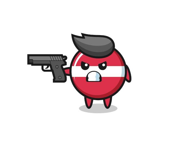 Le personnage mignon d'insigne de drapeau de la lettonie tire avec une arme à feu, un design de style mignon pour un t-shirt, un autocollant, un élément de logo