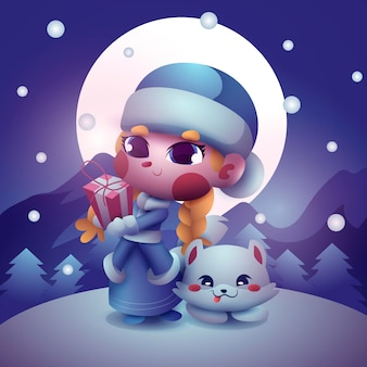 Personnage mignon de jeune fille des neiges