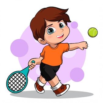 Personnage mignon d'un joueur de tennis masculin