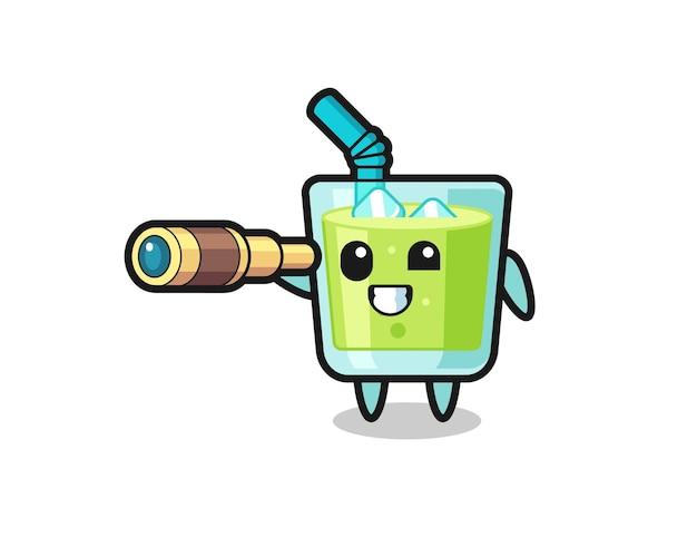 Le personnage mignon de jus de melon tient un vieux télescope, un design de style mignon pour un t-shirt, un autocollant, un élément de logo