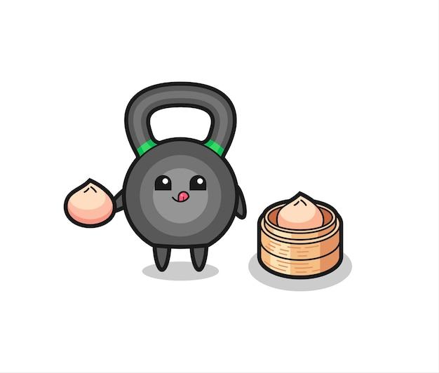 Personnage mignon de kettleball mangeant des petits pains cuits à la vapeur, design de style mignon pour t-shirt, autocollant, élément de logo