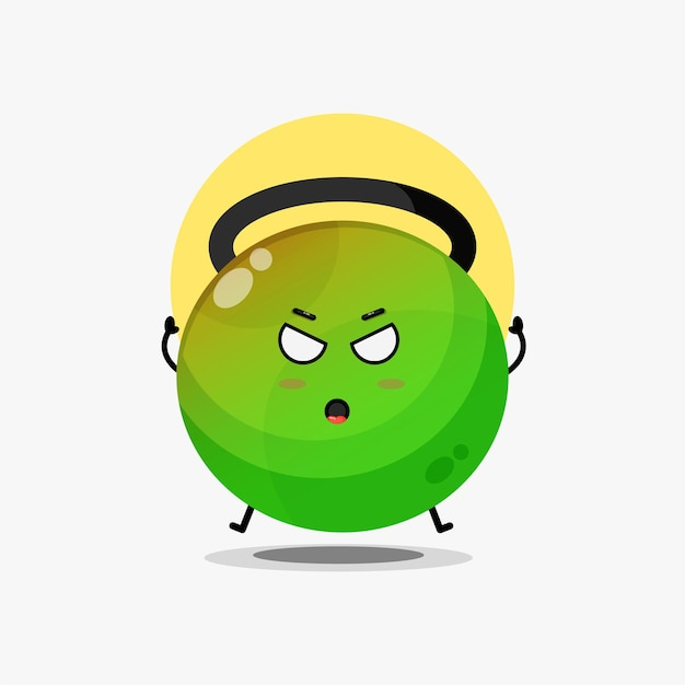 Le personnage mignon de kettlebell de remise en forme est en colère