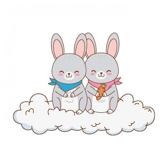 Personnage mignon lapins dans les nuages