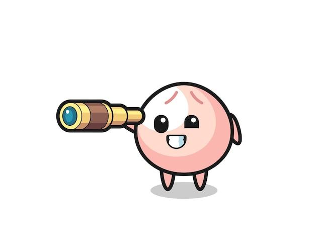 Le personnage mignon de meatbun tient un vieux télescope, un design de style mignon pour un t-shirt, un autocollant, un élément de logo