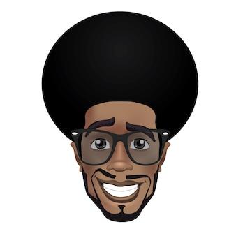 Personnage mignon mec noir souriant avec des lunettes de soleil.