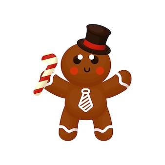 Personnage mignon de pain de gingembre tenant des bonbons