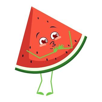 Le personnage mignon de pastèque tombe amoureux des yeux, du cœur, du visage, des bras et des jambes. les émotions drôles ou souriantes des fruits ou des baies avec des yeux. télévision illustration vectorielle
