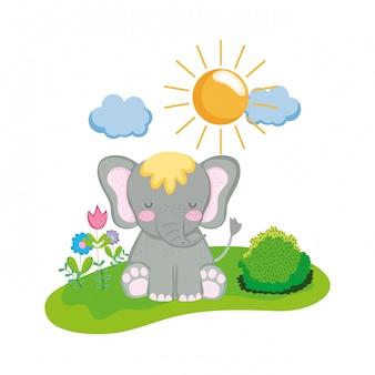Personnage mignon et petit éléphant