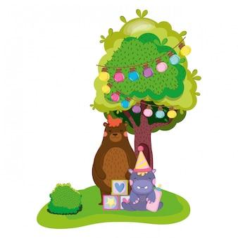 Personnage mignon et petit hippo avec chapeau de fête