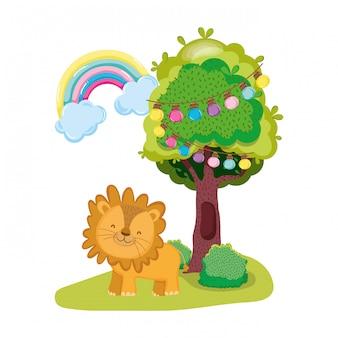 Personnage mignon et petit lion