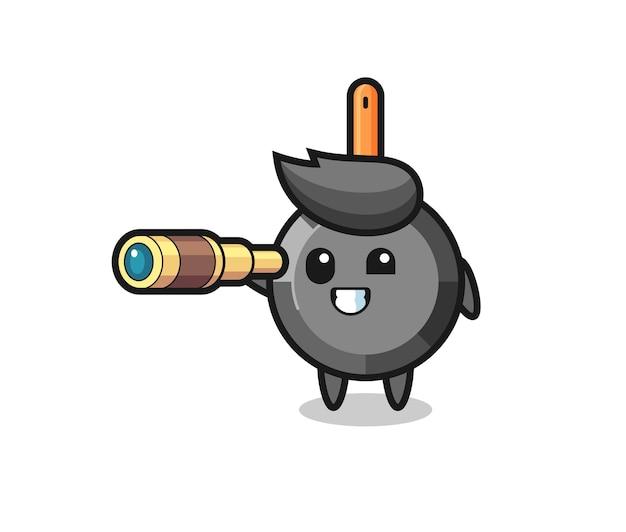 Le personnage mignon de poêle à frire tient un vieux télescope, un design de style mignon pour un t-shirt, un autocollant, un élément de logo