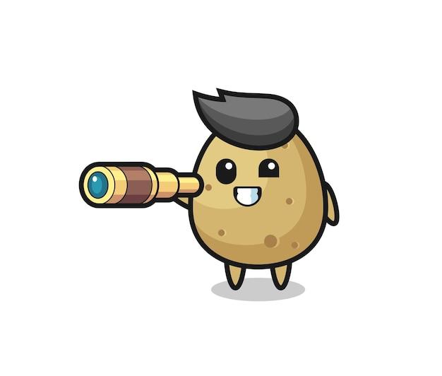 Le personnage mignon de pomme de terre tient un vieux télescope, un design de style mignon pour un t-shirt, un autocollant, un élément de logo