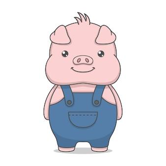 Personnage mignon de porc portant une salopette