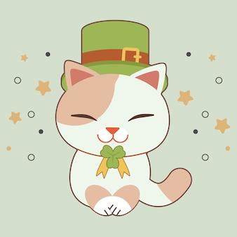 Le personnage de mignon porte un chapeau haut de forme vert et un trèfle laisse un ruban pour le thème de la saint-patrick.