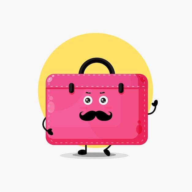 Personnage mignon porte-documents avec moustache