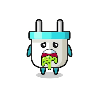 Le personnage mignon de prise électrique avec vomi, design de style mignon pour t-shirt, autocollant, élément de logo