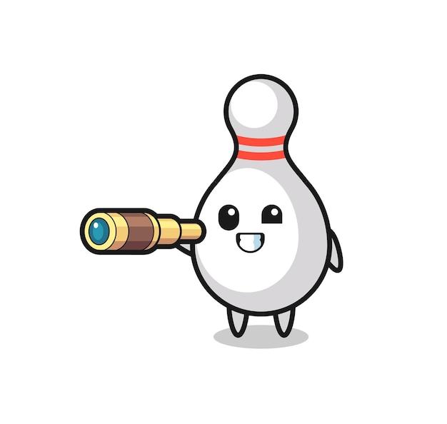 Le personnage mignon de quilles tient un vieux télescope, un design de style mignon pour un t-shirt, un autocollant, un élément de logo