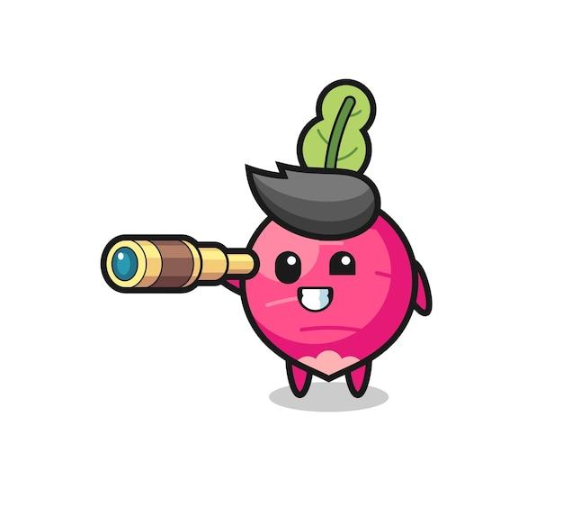 Le personnage mignon de radis tient un vieux télescope, un design de style mignon pour un t-shirt, un autocollant, un élément de logo