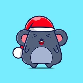 Personnage mignon de souris avec chapeau de noël