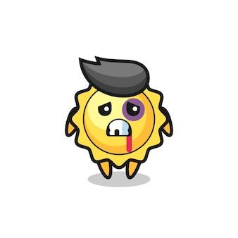Le personnage mignon de super-héros du soleil vole un personnage de soleil blessé avec un visage meurtri, un design de style mignon pour un t-shirt, un autocollant, un élément de logo