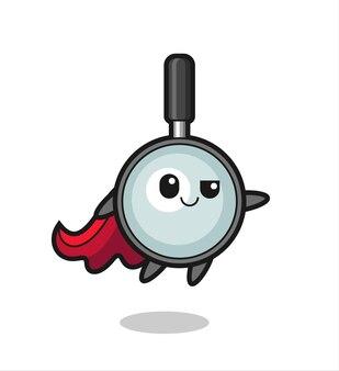 Le personnage mignon de super-héros en forme de loupe vole, design de style mignon pour t-shirt, autocollant, élément de logo