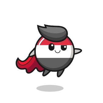 Le personnage mignon de super-héros d'insigne de drapeau du yémen vole, conception mignonne de style pour le t-shirt, autocollant, élément de logo