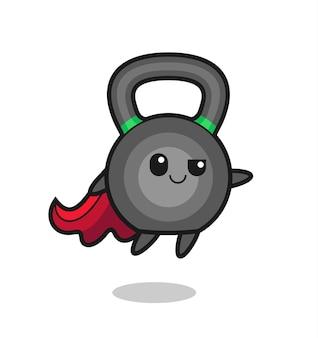 Le personnage mignon de super-héros de kettleball vole, design de style mignon pour t-shirt, autocollant, élément de logo