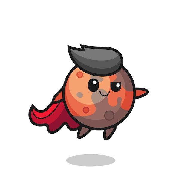 Le personnage mignon de super-héros de mars vole, design de style mignon pour t-shirt, autocollant, élément de logo