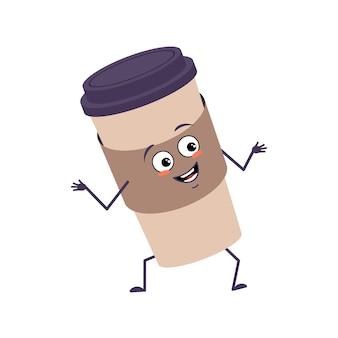 Personnage mignon une tasse de café avec des émotions de joie, un visage souriant, des yeux, des bras et des jambes heureux. une vaisselle en papier espiègle pour un café. télévision illustration vectorielle