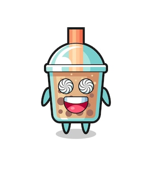 Personnage mignon de thé à bulles avec des yeux hypnotisés, design de style mignon pour t-shirt, autocollant, élément de logo