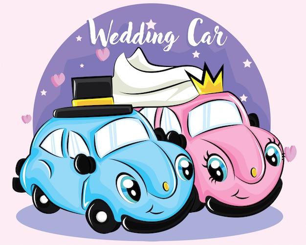 Personnage mignon de voiture de mariage