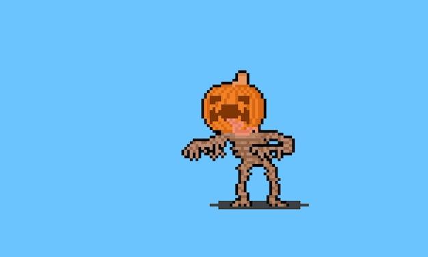 Personnage de monstre citrouille pixel art.