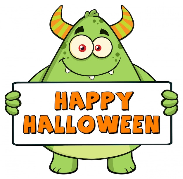 Personnage de monstre vert tenant une pancarte