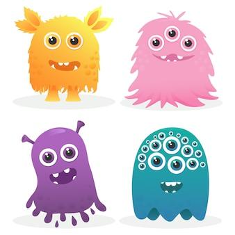 Personnage de monstres mignons colorés