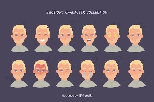 Personnage montrant une collection d'émotions