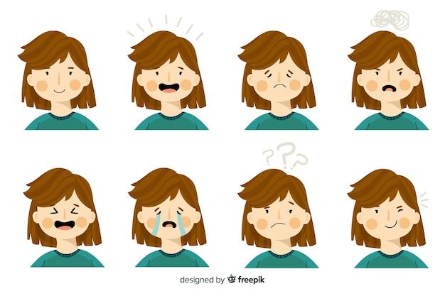 Personnage montrant des émotions