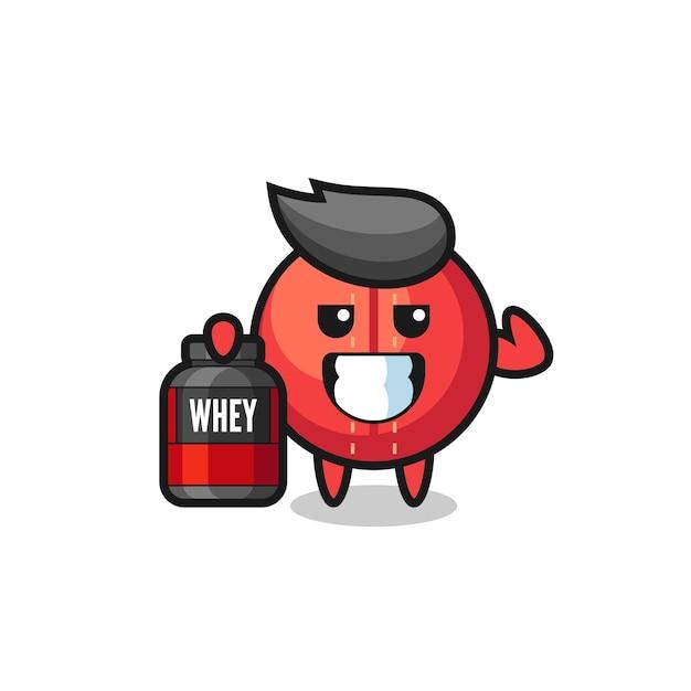 Le personnage musclé de la balle de cricket tient un supplément de protéines, un design de style mignon pour un t-shirt, un autocollant, un élément de logo