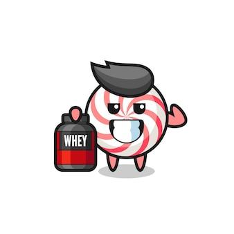 Le personnage musclé de bonbons tient un supplément de protéines, un design de style mignon pour un t-shirt, un autocollant, un élément de logo