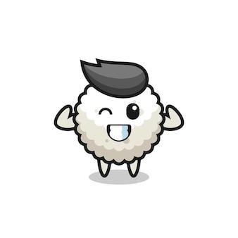 Le personnage musclé de boule de riz pose en montrant ses muscles, un design de style mignon pour un t-shirt, un autocollant, un élément de logo